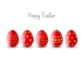 Red Easter eggs on white background