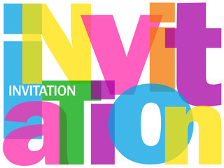 """""""INVITATION"""" Letter Collage (let's party time celebration fun)"""