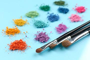 Rainbow crushed eyeshadow and professional make-up brush