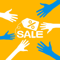 hands reach for a sale