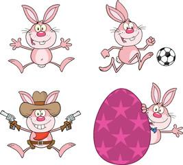 Cute Rabbits Cartoon Mascot Characters 14. Set Collection