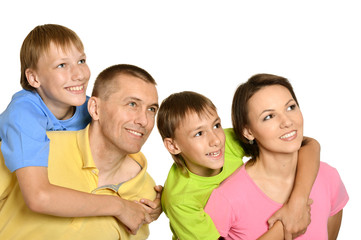 Attractive family in bright T-shirts