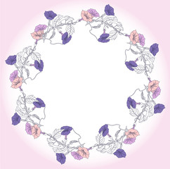 Wreath with blue and pink bindweed. Vector illustration