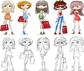 Набор мультфильм модных девочек