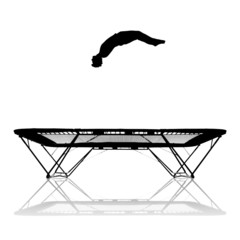 Wall Mural - silhouette on trampoline