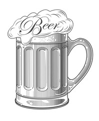 Vector illustration of  beer in vintage engraving style