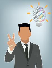 Businessman idea Creative brain Idea concept background design f