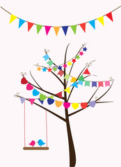 vector birds and bunting in the tree