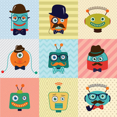 Hipster Vintage Cute Fashion Robots