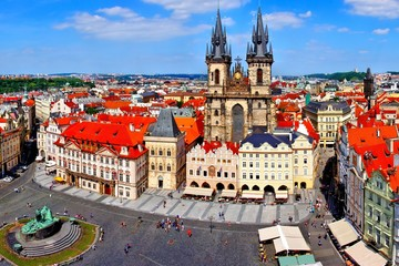 Acrylic Prints Prague Aerial view over Old Town Square, Prague, Czech Republic
