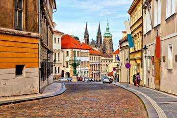 Poster Prague Street in the old town of Prague with St Vitus Cathedral