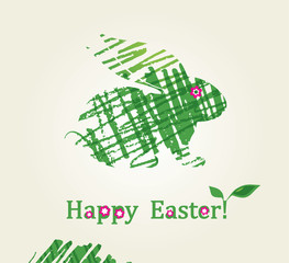 Card with grass bunny. Happy Easter!