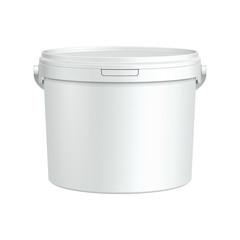 Obraz White Tub Paint Plastic Bucket Container. - fototapety do salonu