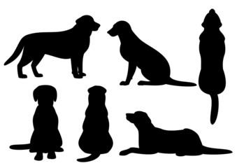 犬のシルエット、セット