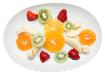 Fruit plate isolated on white