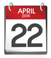 Calendar of 22nd of April 2014 Vector