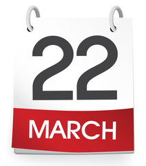 Calendar of 22nd of March Vector