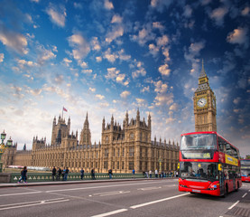 Classic Double Decker Bus crossing Westminster Bridge
