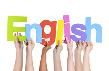 Multi-Ethnic Group of Hands Holding The Word English