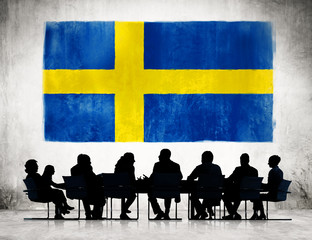Silhouette of Business Meeting With Flag of Sweden