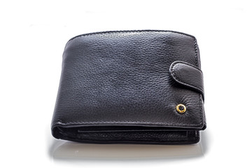 Black leather purse.