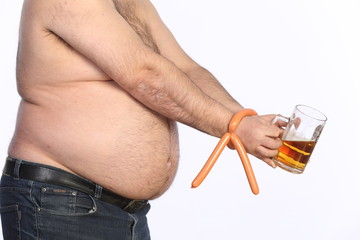 fat man holding beer, chips and tv remote control