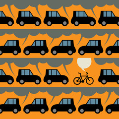 Label or poster with bicycle and traffic, vector