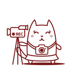 Character photographer with a camera line art