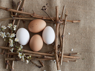 Easter eggs in a beautiful frame