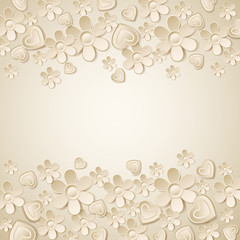 beige background with many flowers,  vector