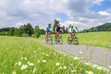 Fototapete - Drei entspannte Mountainbiker