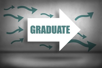Graduate against arrows pointing