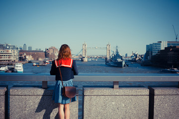 Young woman admiring London skyline