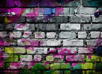Fototapete - graffiti brick wall