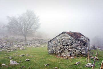 Wall Mural - stone shed in mountain with fog