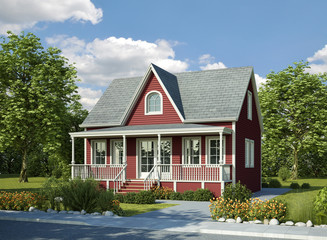 Holzhaus Veranda rot