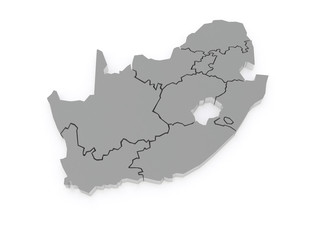 Map of Republic of South Africa (RSA).
