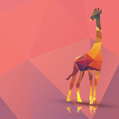 Geometric polygonal giraffe, pattern design, vector