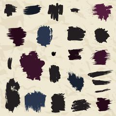 Grunge painted brush strokes. Design elements set.