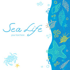Bright invitation cards with sea elements. Marine life vector