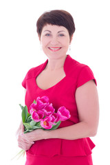 happy middle aged woman with flowers isolated on white