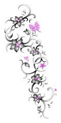 Tribal-Blumenranke Tattoo Artwork
