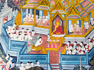 Religious painting in Wat Po Temple, Thailand