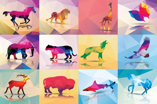 Collection of geometric polygon animals, patter design, vector