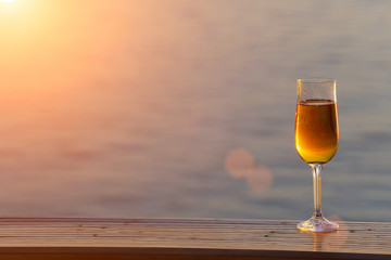 Glass of wine at sea