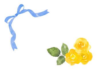 黄色いバラと青いリボンの父の日用カード