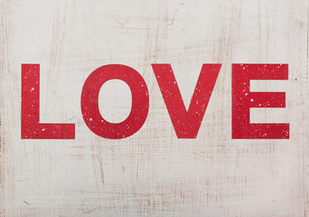 love, wooden red letters