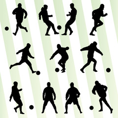 Soccer players silhouette vector background concept set