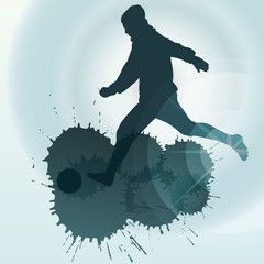 occer players silhouette vector background concept with ink spla