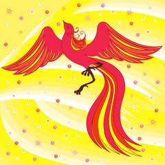 Graceful Firebird on abstract background